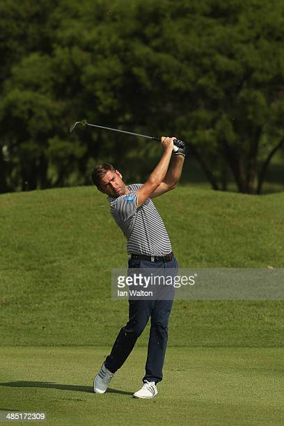 Robert Rock of England in action during round one of the 2014 Maybank Malaysian Open at Kuala Lumpur Golf Country Club on April 17 2014 in Kuala...