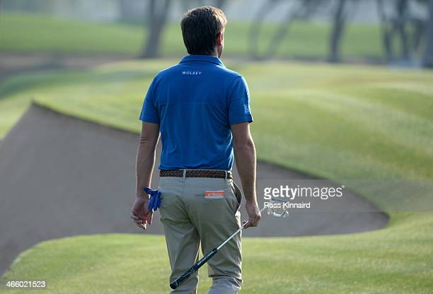 Robert Rock of England on the par five 3rd hole during the second round of the Omega Dubai Desert Classic on the Majlis Course at the Emirates Golf...