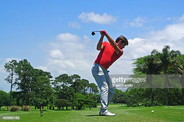Robert Rock of England plays a shot during the weather delayed second round of the Nelson Mandela Championship at Mount Edgecombe Country Club on...