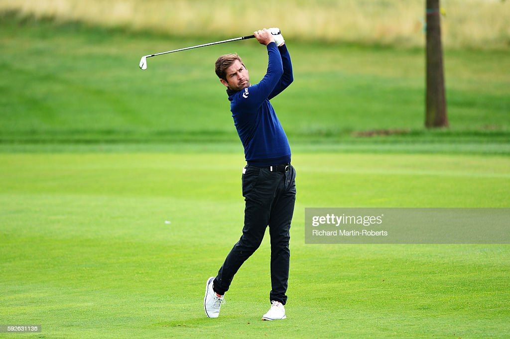 Robert Rock of England takes his third shot on the 1st hole during day four of the D+D REAL Czech Masters at Albatross Golf Resort on August 21, 2016 in Prague, Czech Republic.