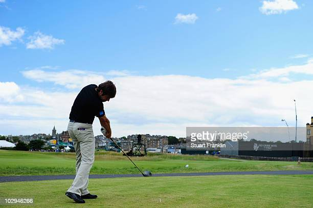 Robert Rock of England tees off on the 17th hole during the third round of the 139th Open Championship on the Old Course, St Andrews on July 17, 2010...