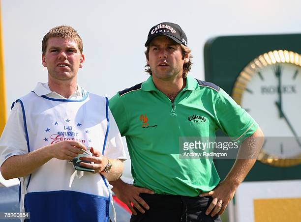 Robert Rock of England waits with his caddie on the 17th hole during the third round of the Smurfit Kappa European Open on July 7 2007 on the Smurfit...