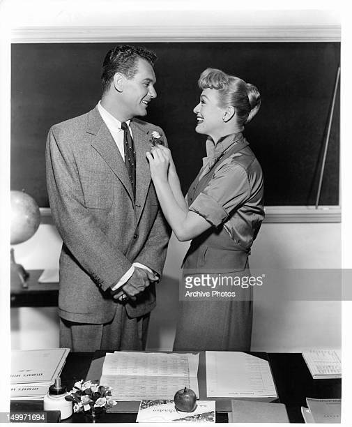 Robert Rockwell and Eve Arden in classroom publicity portrait for the film 'Our Miss Brooks' 1956