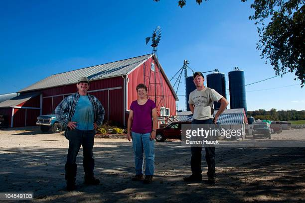Robert Roden wife Cindy Roden and son Rick Roden stand for a portrait at their farm RobNCin on September 29 2010 in West Bend Wisconsin The farm has...