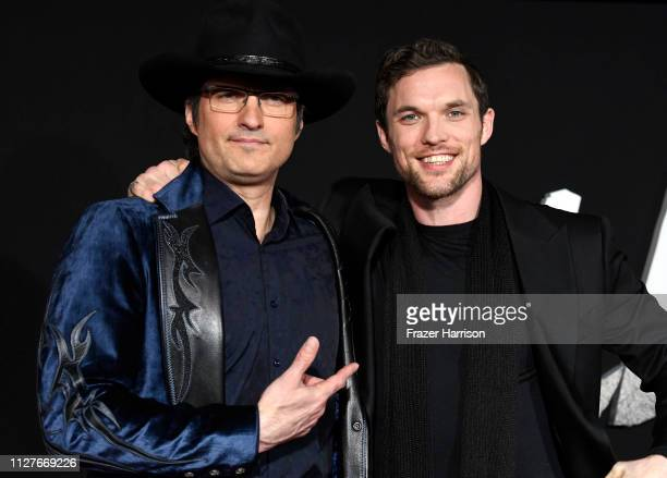Robert Rodriguez and Ed Skrein attend the premiere of 20th Century Fox's Alita Battle Angel at Westwood Regency Theater on February 05 2019 in Los...