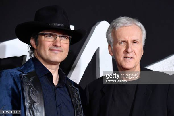 Robert Rodriguez and James Cameron attend the premiere of 20th Century Fox's Alita Battle Angel at Westwood Regency Theater on February 05 2019 in...