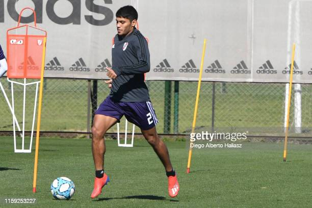 Robert Rojas drives the ball during morning training at the River Camp on August 2 2019 in Ezeiza Argentina