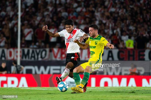 Robert Rojas of River Plate fight for the ball during a match between River Plate and Defensa y Justicia as part of Superliga 2019/20 at Antonio...