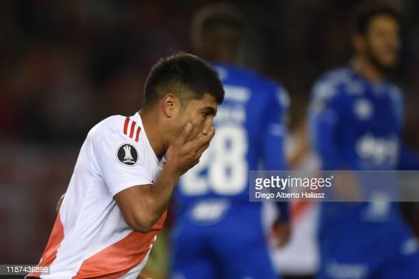 Robert Rojas of River Plate reacts during a round of sixteen first leg match between River Plate and Cruzeiro as part of Copa CONMEBOL Libertadores...