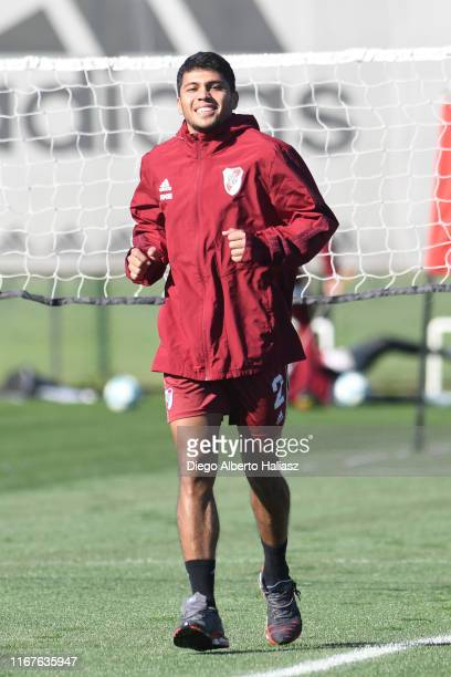 Robert Rojas smiles during River Plate's training session at River Camp on September 12 2019 in Ezeiza Argentina