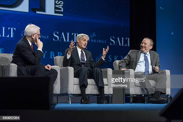 Robert Rubin cochairman at the Council of Foreign Relations and former US Treasury Secretary center speaks as Lawrence H 'Larry' Summers former US...