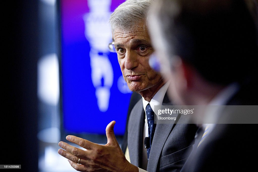"""Robert Rubin, co-chairman of the Council on Foreign Relations, speaks during an event inside the Bloomberg Link during day three of the Democratic National Convention (DNC) in Charlotte, North Carolina, U.S., on Thursday, Sept. 6, 2012. Four years after the nation made history by electing him the first African-American president, Barack Obama asked for a second term with a pledge to keep rebuilding a battered economy in a way that """"may be harder but it leads to a better place."""" Photographer: David Paul Morris/Bloomberg via Getty Images"""