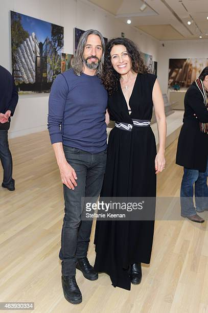 Robert Russell and Lisa Edelstein attend Hammer Museum's Provocations Presented In Partnership With Burberry Members' Opening on February 19 2015 in...