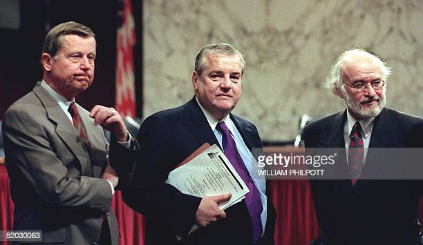 Robert S. Bennett , US President Bill Clinton's personal attorney, stands with Nathan Lewin , counsel for former US Attorney General Edwin Meese, and...
