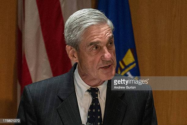Robert S Mueller III Director of the Federal Bureau of Investigation speaks at the International Conference on Cyber Security on August 8 2013 in New...