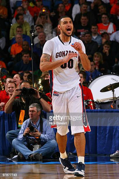 Robert Sacre of the Gonzaga Bulldogs reacts after a play against the Florida State Seminoles during the first round of the 2010 NCAA men's basketball...