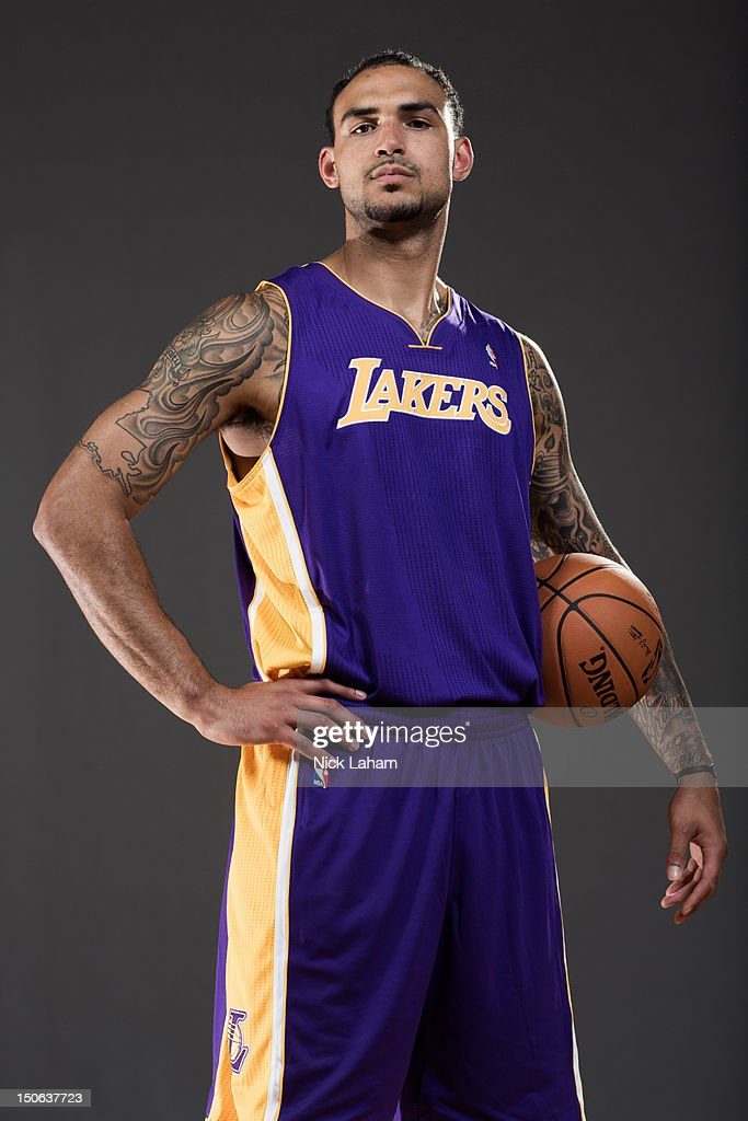 Robert Sacre of the Los Angeles Lakers poses for a portrait during the 2012 NBA Rookie Photo Shoot at the MSG Training Center on August 21, 2012 in Tarrytown, New York.