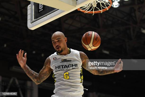 Robert Sacre of the Sun Rockers Shibuya dunks the ball during the B.League Early Cup Kanto 3rd Place Game between Chiba Jets and Sun Rockers Shibuya...
