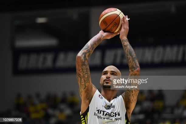 Robert Sacre of the Sun Rockers Shibuya shoots a free throw during the B.League Early Cup Kanto 3rd Place Game between Chiba Jets and Sun Rockers...