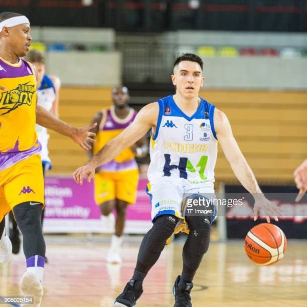 Robert Sandoval of Cheshire Phoenix controls the ball during the British Basketball League match between London Lions and Cheshire Phoenix at Copper...