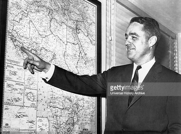 Robert Sargent Shriver Jr US Statesman and Activist Portrait Pointing at Map of Africa While Director of Peace Corps 1961