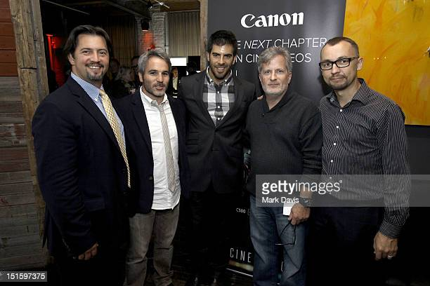 Robert Schall Producer Jeff Abramson Actor/filmmaker Eli Roth and Canon USA representatives Tim Smith and Simon Kerr attend Canon Celebrates the Art...