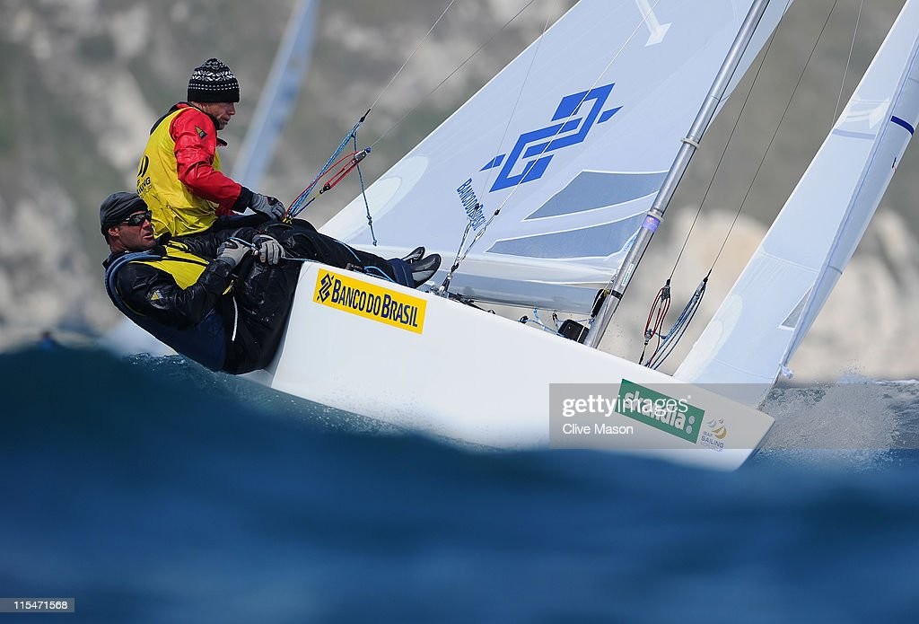 Robert Scheidt and Bruno Prada of Brazil in action during a Star class race on day two of the Skandia Sail For Gold Regatta at the Wemouth and Portland National Sailing Academy on June 7, 2011 in Weymouth, England.