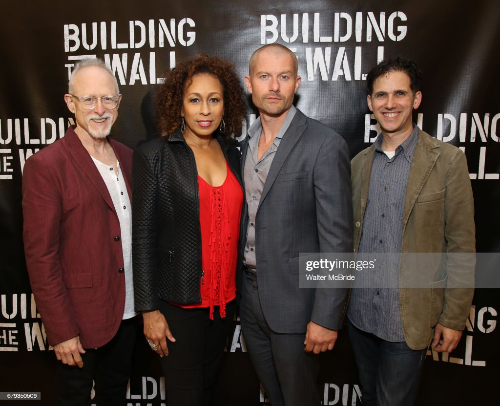 Robert Schenkkan, Tamara Tunie, James Badge Dale and Ari Edelson attend the cast PhotoCall for 'Building The Wall' Ripley-Grier on May 5, 2017 in New York City.
