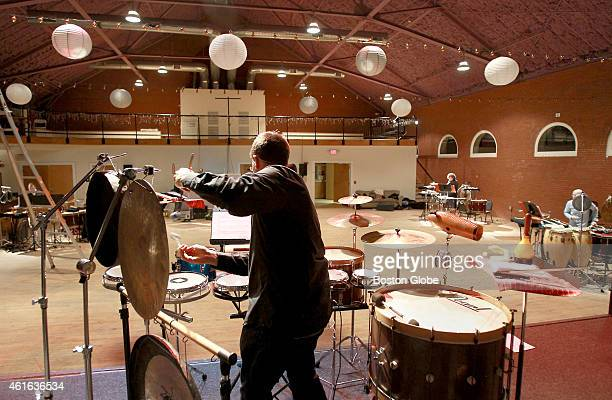 Robert Schulz was one of the drummers spread around the Center for the Arts at the Armory during Sound Icon rehearsal in Somerville Mass on January...