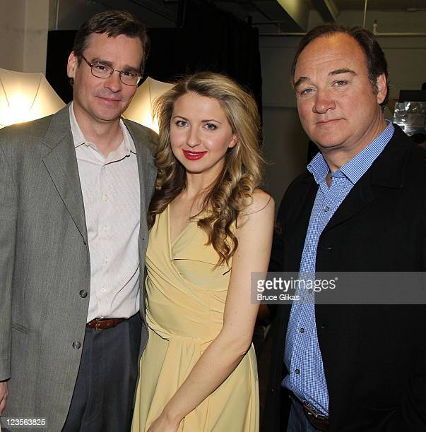 Robert Sean Leonard Nina Arianda and James Belushi pose at the Born Yesterday Broadway Cast Photocall at the Roundabout Theatre Company Rehearsal...