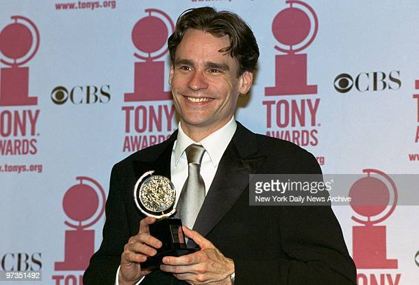 """Robert Sean Leonard, winner of the Best Featured Actor in a Play award for his work in """"The Invention of Love,"""" holds his Tony Awards at the Sheraton..."""