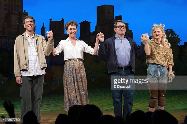 Robert Sella Julie White Matthew Broderick and Annaleigh Ashford take their curtain call during the 'Sylvia' opening night at Cort Theatre on October...