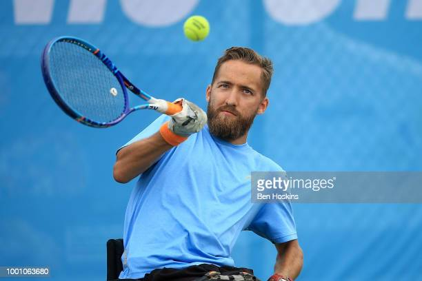 Robert Shaw of Canada plays a forehand during his match against Heath Davidson of Australia on day two of The British Open Wheelchair Tennis...