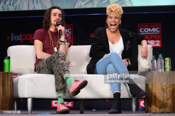 Robert Sheehan and Emmy RaverLampman attend C2E2 Chicago Comic Entertainment Expo at McCormick Place on February 29 2020 in Chicago Illinois