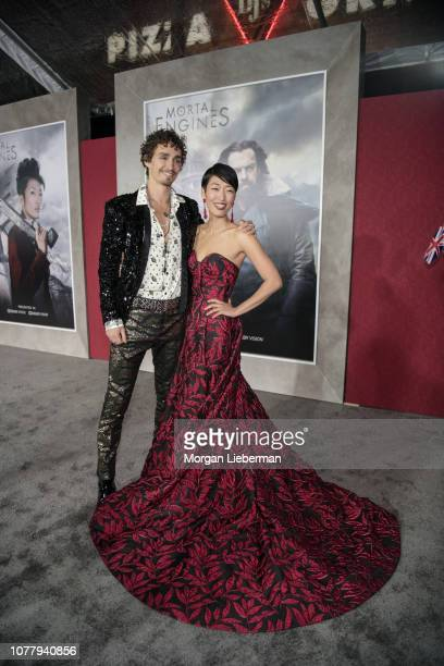Robert Sheehan and Jihae arrives at the premiere Of Universal Pictures' 'Mortal Engines' at Regency Village Theatre on December 5 2018 in Westwood...