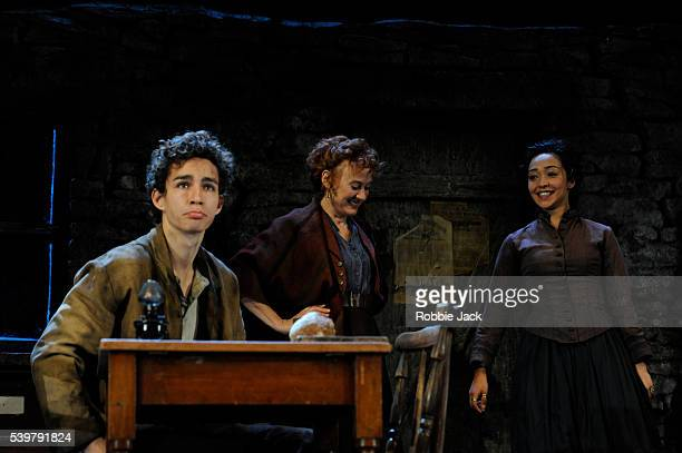 Robert Sheehan as Christopher Mahon Niamh Cusack as Widow Quin and Ruth Negga as Pegeen Mike in John Millington Synge's The Playboy of the Western...