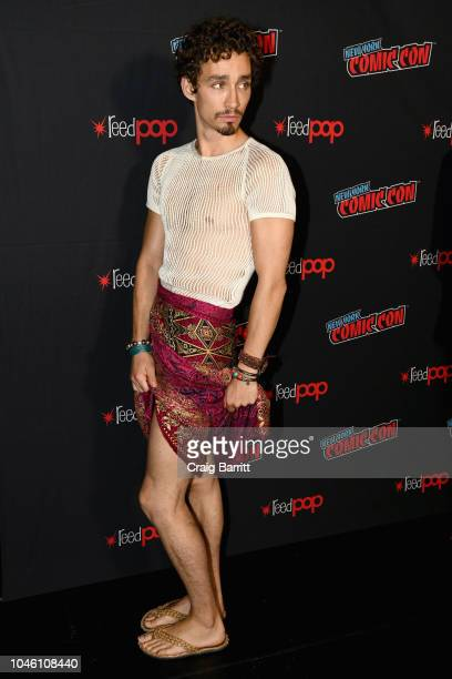 Robert Sheehan attends the Mortal Engines panel during New York Comic Con 2018 at The Hulu Theater at Madison Square Garden on October 5 2018 in New...