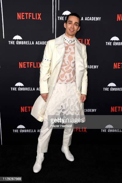 Robert Sheehan attends the premiere of Netflix's 'The Umbrella Academy' at ArcLight Hollywood on February 12 2019 in Hollywood California
