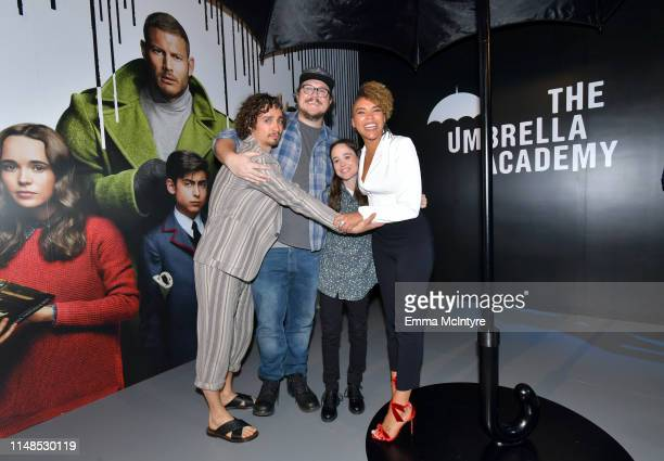 Robert Sheehan Cameron Britton Ellen Page and Emmy RaverLampman attend Netflix's 'Umbrella Academy' Screening at Raleigh Studios on May 11 2019 in...