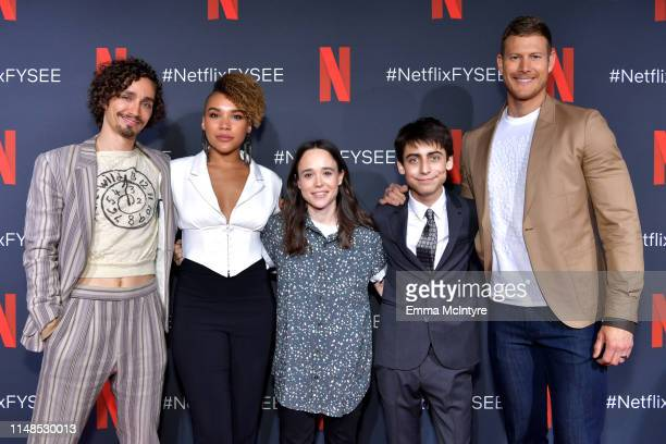 Robert Sheehan Emmy RaverLampman Ellen Page Aidan Gallagher and Tom Hopper attend Netflix's 'Umbrella Academy' Screening at Raleigh Studios on May 11...