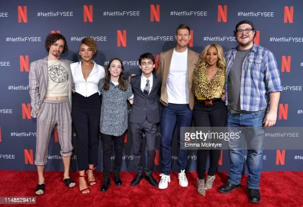 Robert Sheehan Emmy RaverLampman Ellen Page Aidan Gallagher Tom Hopper Mary J Blige and Cameron Britton attend Netflix's 'Umbrella Academy' Screening...