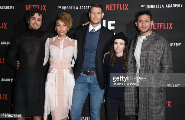 Robert Sheehan Emmy RaverLampman Tom Hopper Ellen Page and David Castaneda attend a photocall for Netflix The Umbrella Academy at Curzon Cinema...