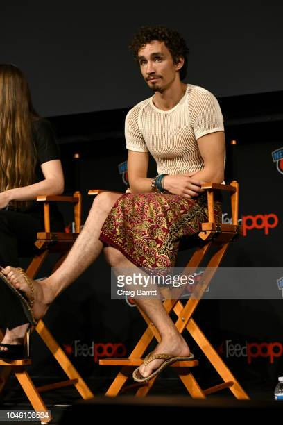 Robert Sheehan speaks onstage during the Mortal Engines panel during New York Comic Con 2018 at The Hulu Theater at Madison Square Garden on October...