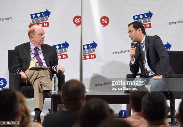 Robert Shrum and Joaquin Castro at the 'Castro Conversation' panel during Politicon at Pasadena Convention Center on July 30 2017 in Pasadena...
