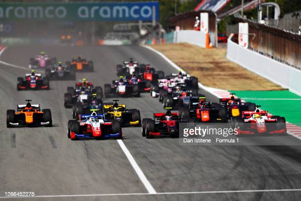 Robert Shwartzman of Russia and Prema Racing , Callum Ilott of Great Britain and UNI-Virtuosi Racing and Mick Schumacher of Germany and Prema Racing...