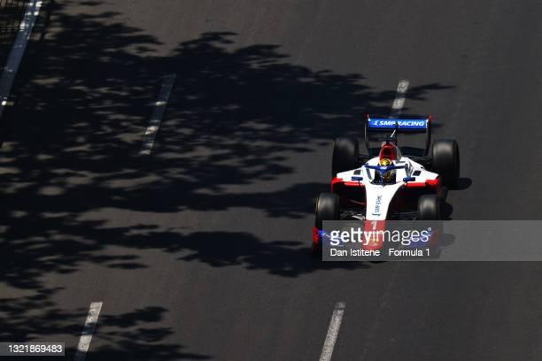 Robert Shwartzman of Russia and Prema Racing drives during sprint race 1 of Round 3:Baku of the Formula 2 Championship at Baku City Circuit on June...