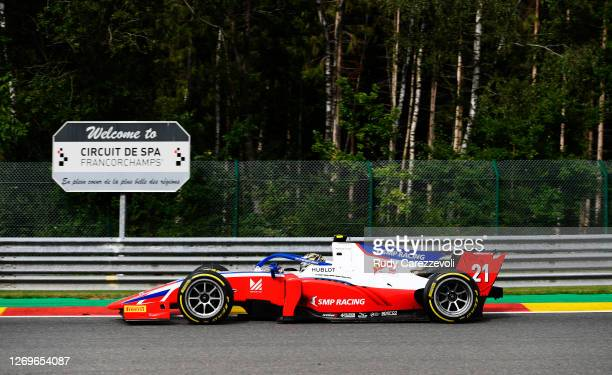 Robert Shwartzman of Russia and Prema Racing drives during the sprint race of the Formula 2 Championship at Circuit de Spa-Francorchamps on August...
