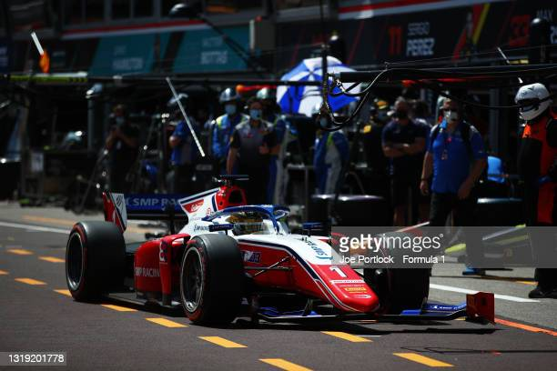 Robert Shwartzman of Russia and Prema Racing drives in the Pitlane with a broken front wing during Sprint Race 1 of Round 2:Monte Carlo of the...