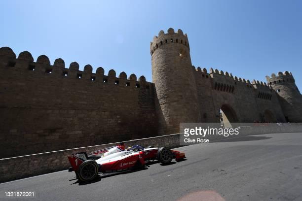 Robert Shwartzman of Russia and Prema Racing drives on track during sprint race 1 of Round 3:Baku of the Formula 2 Championship at Baku City Circuit...