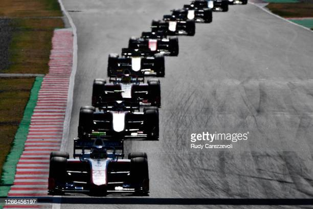 Robert Shwartzman of Russia and Prema Racing leads a line of cars during the feature race of the Formula 2 Championship at Circuit de...